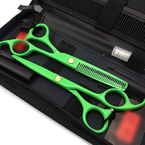 CKQ-KQ 5,5 inch professionele kappersschaar set, gegalvaniseerd groen plat + tandenschaar set Groen