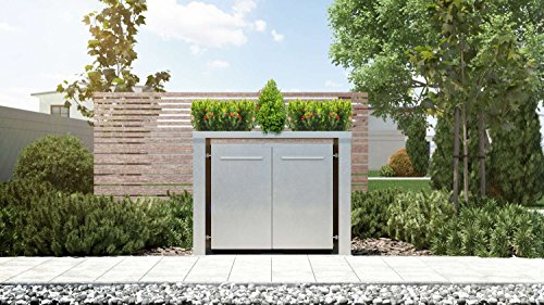 Mülltonnenbox Pflanzdach Plandesign Edelstahl 120 Liter 2 Mülltonnen