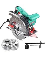 HYCHIKA 1500 W cirkelzaag, 6 instelbare snelheden, 2200-4700PRM, 2 zaagbladen Ø 190 mm (40 T en 24 T), maximale zaagdiepte: 65 mm (90 °), 45 mm (45 °), puur koperen motor, 3 m snoer voeding