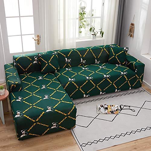 PPMP Funda de sofá elástica elástica, Utilizada para la Funda de sofá de Spandex de la Sala de Estar, Funda de sofá, Toalla de sofá elástica, Forma de L, Funda de sofá A12 de 4 plazas