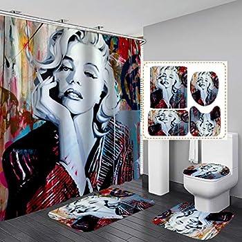 Jayden&Madge 4PCS/SET Sexy Marilyn Monroe Shower Curtain Cool Graffiti Art American Woman Bathroom Decor Waterproof Fabric Bath Curtain Non-slip Bathroom Floor Mat Bath Rug Toilet Carpet Smoking