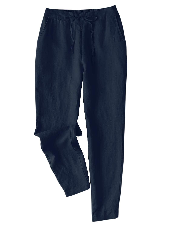 IXIMO レディース リネン ロングパンツ テーパードパンツ 無地 ウェストゴム ドロスト ゆったり カジュアル きれいめ パンツ ズボン 5色展開