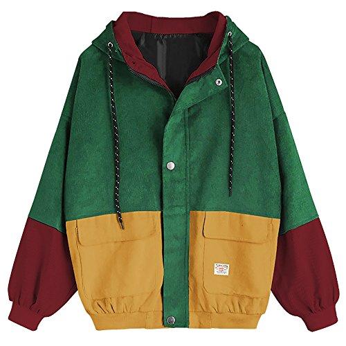 Women Teen Girls Vintage Long Sleeve Color Block Corduroy Hooded Jacket Coat Windbreaker (Green/Yellow/Red, L)
