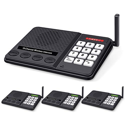 Intercoms Wireless for Home - Long Range 1 Mile Wireless Intercom System with Radio Sound 10 Channel 3 Digital Code - Room to Room Intercoms for Home Office School Business House (Pack of 4)