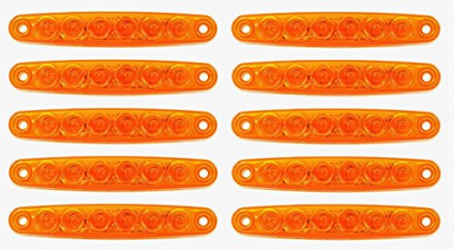 Lot de 10 feux de position latéraux à 6 LED SMD 24 V Orange Ambre Pour camion, camping-car, caravane, bus, van