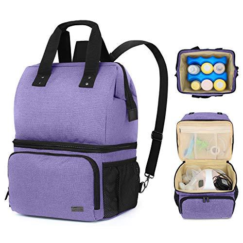 Luxja Bolsa de bomba de leite com 2 compartimentos para bomba de leite e bolsa mais fria, bolsa de bombeamento para mães que trabalham (serve para a maioria das bombas de leite grandes), Roxa, Breast Pump Backpack