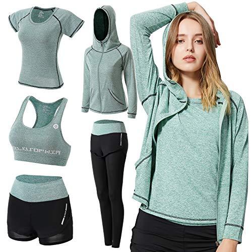 ODWTMRK Survêtement Femme Ensembles Sportswear 5 Pièce Costumes de Sport Gym Yoga Athletisme Fitness Jogging Survêtement Tenue de Sport (B-Vert, S)