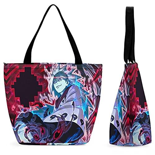 Naruto Uchiha Madara (4) bolsa de compras portátil de gran capacidad, casual y versátil, moda tendencia, bolsa de viaje con un solo hombro, protección del medio ambiente