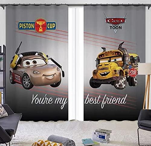 Cortinas opacas de coche McQueen de dibujos animados, dormitorio de niño, sala de estar, ventana panorámica, habitación de niños para niños y niñas, regalos 250(H)x150(W)Cmx2 Paneles / Set (B-52)