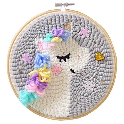 12che Kit de enganche para alfombra de bricolaje, kit de punzonado, para manualidades, alfombra de lana, con marco de bordado de aguja de perforación, 7,5 x 7,5 pulgadas