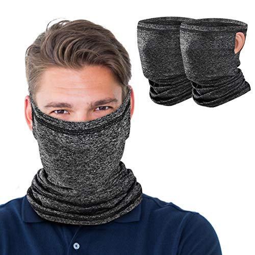 MoKo Neck Gaiter Face Mask with Filter Pocket for Women Men, 2 Pack Bandana Face Mask with Ear Loops Balaclava UV Sun Protection Face Cover Scarf for Dust Wind Outdoors Motorcycle Cycle Skating, Gray