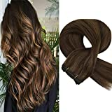Sunny 14' Piano Color Dark Brown with Light Brown Brazilian Remy Hair Weft 1 Bundle Straight Hair Weave Extensions 100gram