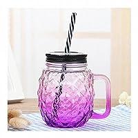 QIXIAOCYB 5ピースガラスドリンクジャー蓋と再利用可能なストロー、ハンドル、スムージービールのコーヒーカップ、ナッツ粒キャンディー貯蔵タンク500ml / 17oz (Color : 5 purple cups)