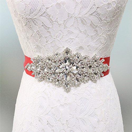 Zdada - Cinturón de boda elegante para vestido de novia, banda para vestido de novia, con diamantes de imitación, 8 opciones de color, materiales sintéticos, Rojo, RA004