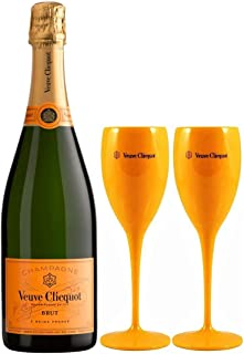 Veuve Clicquot Yellow Label Brut Champagne 75cl with 2 Poolside Drinking Flutes
