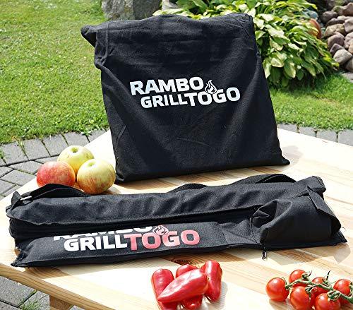 51kkiRKaqNL. SL500  - BEM Rambo Togo: Grill Set - Kleiner Schaschlik Grill, Edelstahl Mangal, Grill mit Motor, Campinggrill, inkl. Powerbank & Spieße
