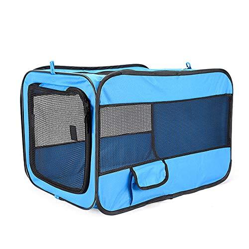 SWNN pet beds Pet Car Folding Cage Car Kennel 600D Oxford Cloth Portable Folding Pet Tent (Color : Blue, Size : L)