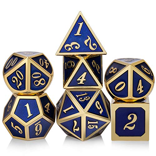 Heavy Polyhedral Metal Dice Set with Metal Box, 7-die Shiny Blue Surface with Golden Number for RPG,Dungeons and Dragons,Pathfinder,Shadowrun,D&D,Role Palying Game and Math Teaching