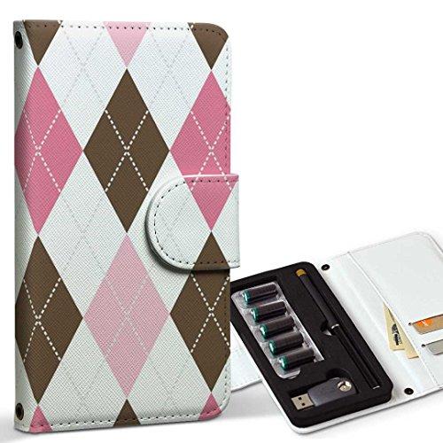 スマコレ ploom TECH プルームテック 専用 レザーケース 手帳型 タバコ ケース カバー 合皮 ケース カバー 収納 プルームケース デザイン 革 チェック・ボーダー アーガイル 模様 007099