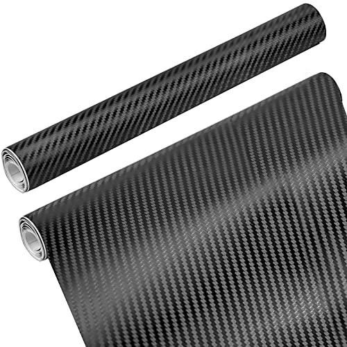 CXtech 2 Rollos Película Pegatina de Decoración Autoadhesiva de Coche Fibra de Carbono Vinilo Coche 152 * 30CM a Prueba de Agua Libre de Burbuja Decoración de Automóvil