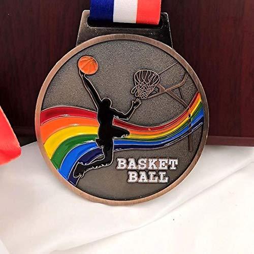 Eeng Medalla de Metal deColorMedallas de Partido Insignias Recuerdos Medalla Deportiva de Baloncesto conCintaDeportes Escolares Metal