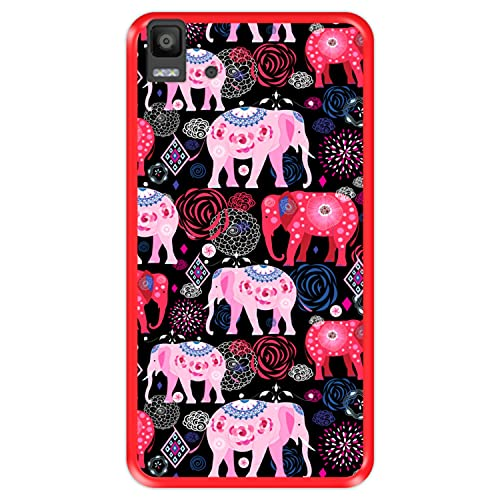 Hapdey silikon Hülle für [ Bq Aquaris E5s - E5 4G ] Design [ Helles Muster von rosa & roten schönen Elefanten ] Rot Flexibles TPU