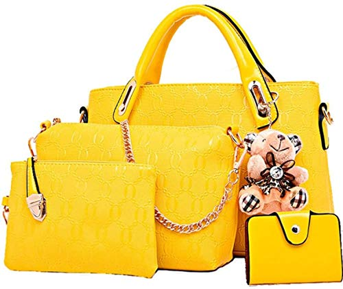 Rain Women 4Pcs Top Handle Satchel Leather Handbag Set Large Tote + Purse + Shoulder Bag + Card Holder Black,Yellow