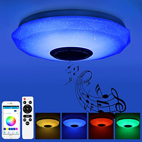 Prenine Plafoniera LED Soffitto 36W Dimmerabile con Altoparlante Bluetooth 3400LM, Cambio Colore RGB, Riproduzione Musicale, Lampada da Soffitto LED per Cameretta da Letto, Bagno, Soggiorno, Cucina