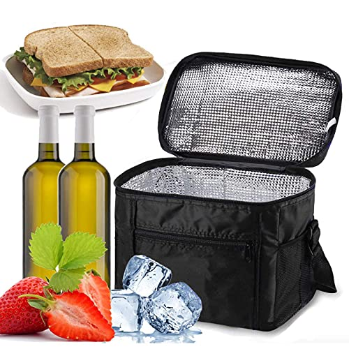 Cooler Bag Lunch 10l portátil Cool Box Refrigeración de cara suave para picnic, camping, barbacoa, compras, color negro