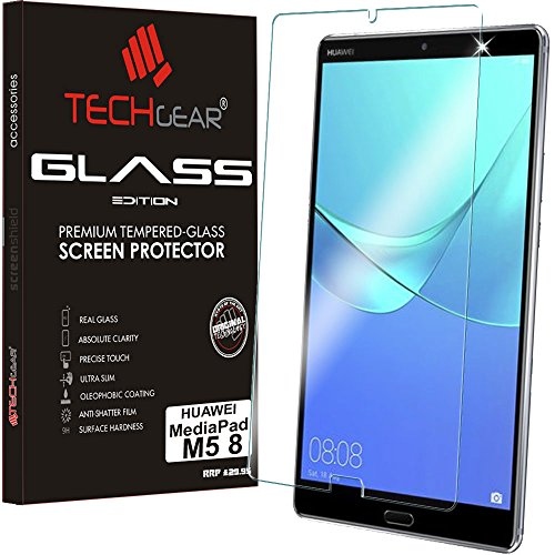 """TECHGEAR Vetro Temperato Compatibile con Huawei MediaPad M5 8 (8.4  Schermo) - Autentica Pellicola protecttiva in Vetro Temperato Salvaschermo per Il Huawei Mediapad M5 8"""" Tablet"""