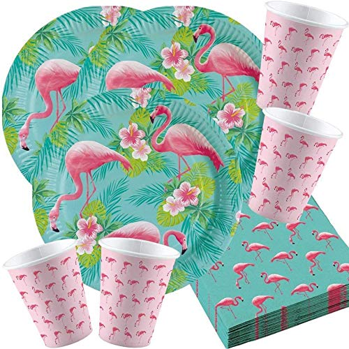 Amscan 10118540B - Partyset Flamingo, 16 Pappteller, 16 Pappbecher, 20 Servietten, Geburtstag, Mottoparty, Sommerfest