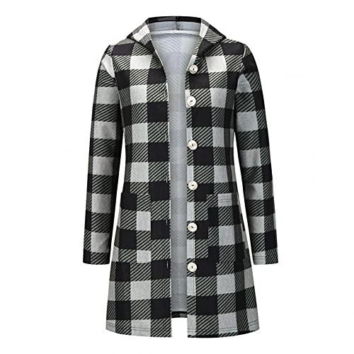 Chaqueta casual con capucha a cuadros de manga larga para mujer con un solo pecho a cuadros maxi camisa abrigo Outwear Cardigan con bolsillos