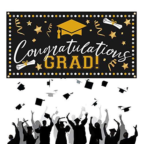 CHALA Herzlichen Glückwunsch Abschlussdeko Congratulations GRAD Banner 2021 Graduation Foto Requisiten Hintergr& Abitur Dekoration Schwarz & Gold Girlande für Abschlussfeier Graduierung Party