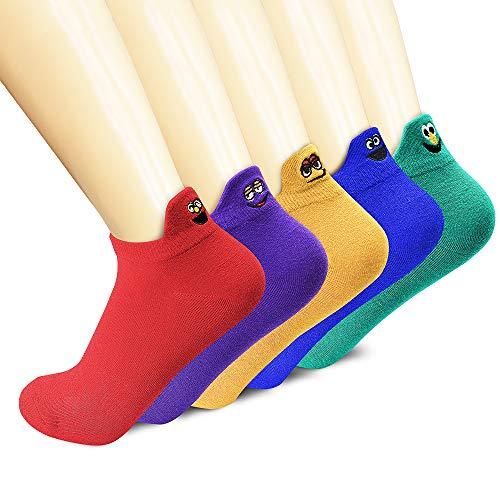 SUNWIND 5 Paar Persönlichkeit Damen Socken, Kreative Socken für Mädchen Damen Füßlinge, Lustige Stickerei Smiley Baumwolle Socken (EU35-39)