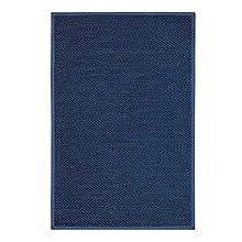 STORESDECO - Alfombra Vinílica Deblon con Ribete, Alfombra de PVC Antideslizante y Resistente, Ideal para Salón, Pasillo, Cocina, Baño… | Ribete, Color Azul, 60 cm x 90 cm