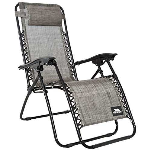 Trespass Glenesk, Grey Marl, Reclining Garden Chair with Padded Head Pillow 108cm x 160cm x 64cm, Grey