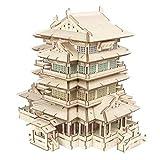 XW Puzzle De Madera, Tengwang Pavilion Building Model Cut Cut Rompecabezas 3D, Luces De Colores, Altavoces Bluetooth, Kit De Proceso De Jigsaw