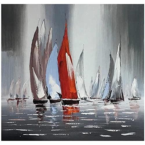 Lefgnmyi Barcos de vela en el río lienzo póster pintura pintado sobre lienzo pintura abstracta arte de pared para decoración del hogar-24x24 en sin marco