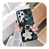 Sfrjar iPhone 12 Mini 11 Pro XS MAX X XR SE 2020 7 8Plus耐衝撃保護ケース用の高級フローラルソフトシリコンリングホルダー電話ケース-Style 4-For iphone 7