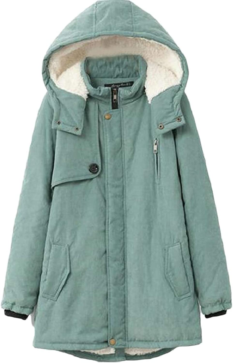 RGCA Womens Large Size Fleece Lined Thick Parka Coat Hooded Jacket