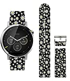 Ecute Quick Release-22mm Width Design Leather Watch Band Strap-for Samsung Galaxy Watch 46mm/Gear S3 Frontier/Classic Smart Watch - Baby White Flowers