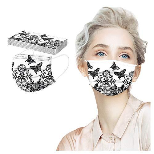LUCKME 50 Stück Mundschutz Einweg, Spitze Drucken Bedruckte Mund und Nasenschutz Atmungsaktiv Stoffmaske Ohrschlaufen Bedeckung Erwachsene Halstuch
