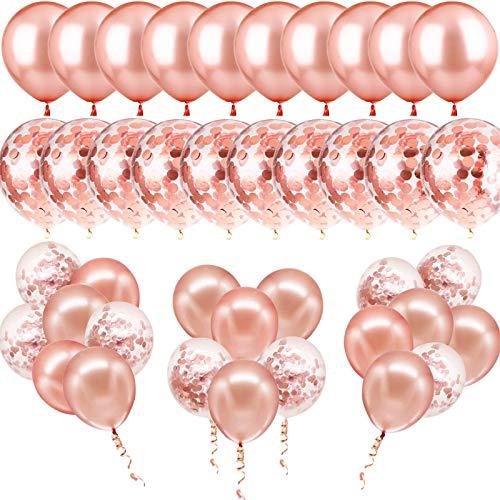 60 juegos de globos de oro rosa, contiene 30 globos de oro rosa y 30 globos de confeti, 2 rollos de cinta para bodas, globos de cumpleaños, graduación, decoración de fiestas.