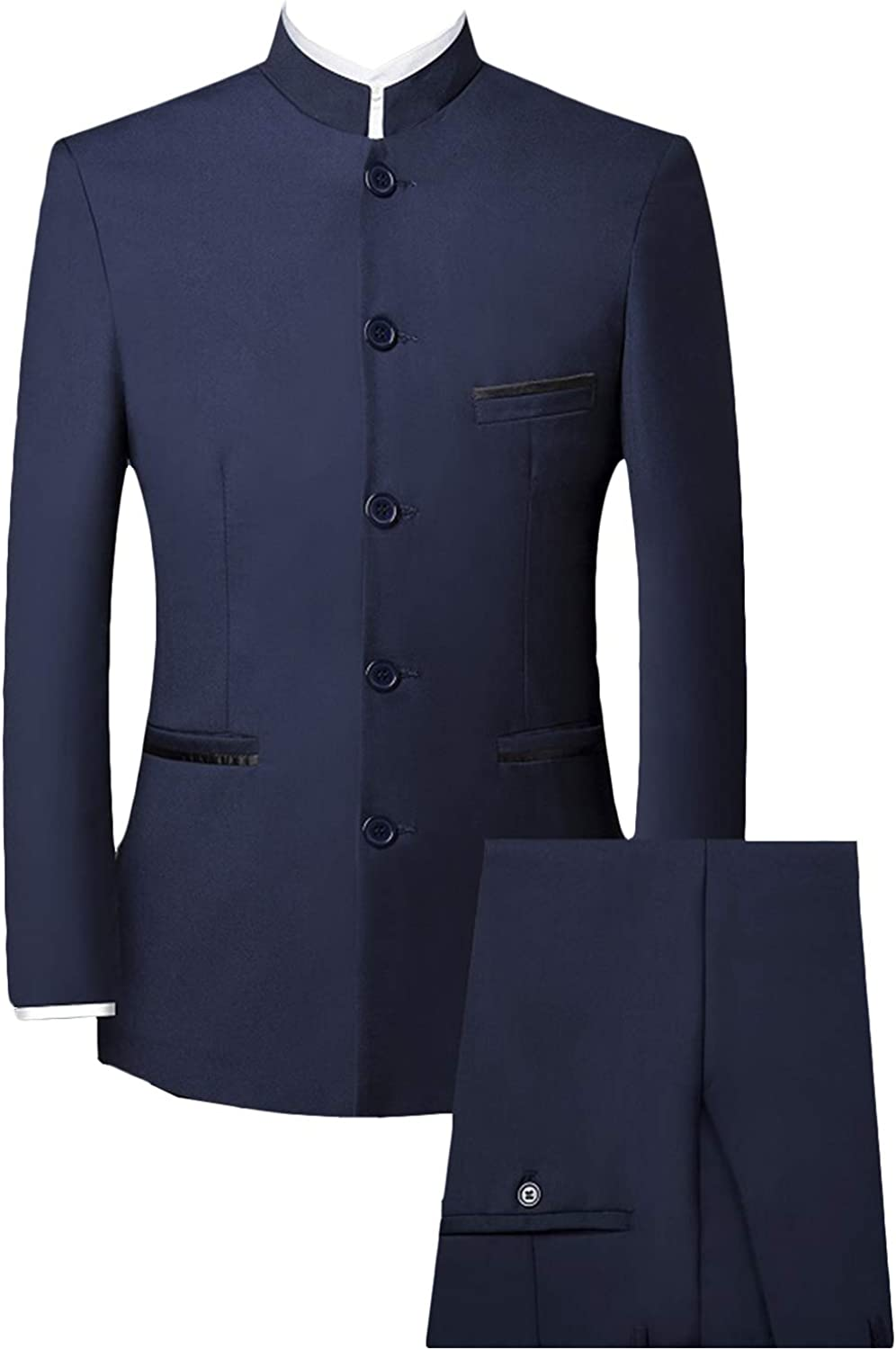 P&G Men's 3 Piece Suit Single Breasted Stand Lapel Business Wedding Tuxedo