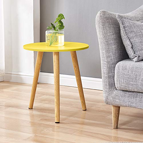 BonChoice Simple Coffee Table Sofa Side Table for Living Room, Modern Simple End Table Bedside Wooden for Small Space (Yellow)