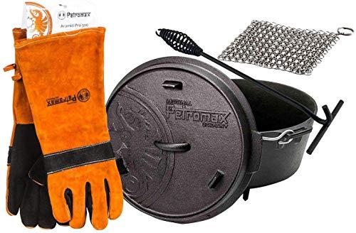 Petromax Feuertopf Starterset ft3 (Dutch Oven) mit Standfüßen Set inkl. Deckelheber + Handschuhe + Ringreiniger