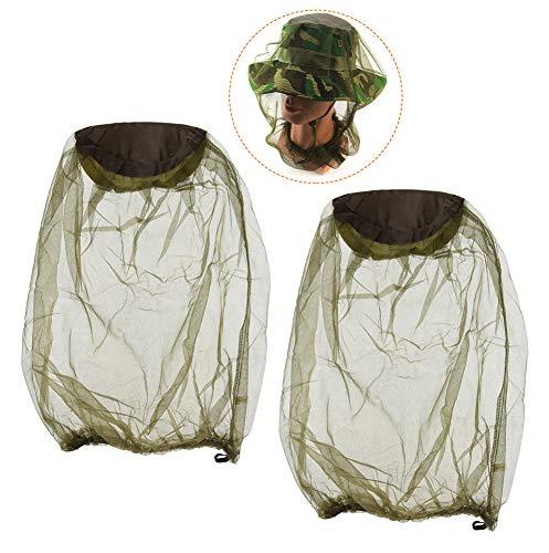 BaiJ Moskito Kopfschutz,2er Pack Moskitonetz Insektenkopfnetz Hut Kopfschutz Anti-Moskito Netze Gesichtsschutz für den Gesichtsschutz Outdoor Angeln Camping Wandern Frauen Männer Damen Herren Grün