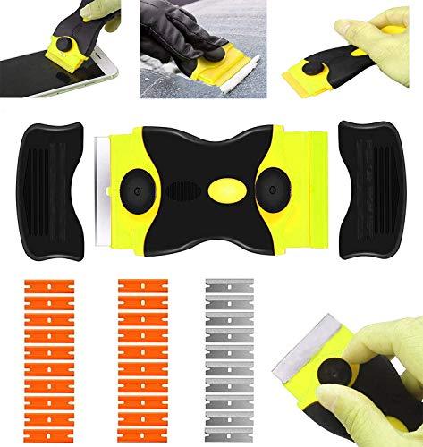 Rasqueta vitroceramica -Raspador Especial para Vitro-Cerámicas y Placas de Inducción- con 10 Piezas Acero Cuchillas Y hoja de plastico (amarillo)