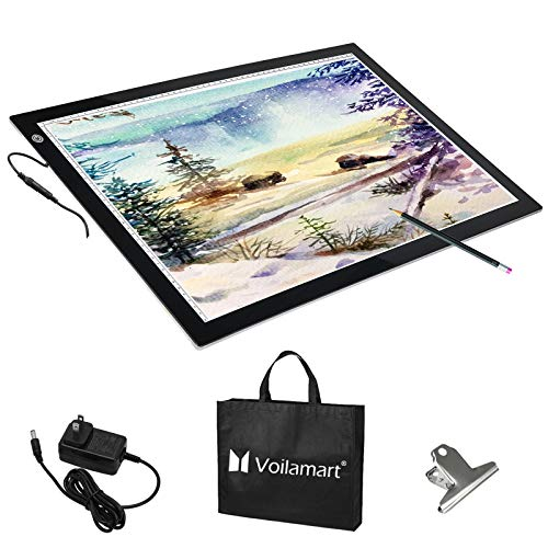 Voilamart A2 LED Tracing Board Light Box Light Pad Illumination Light Panel, Dimmable Brightness w/Paper Clip 2 Cables, for Art Craft Drawing Stencil Sketching