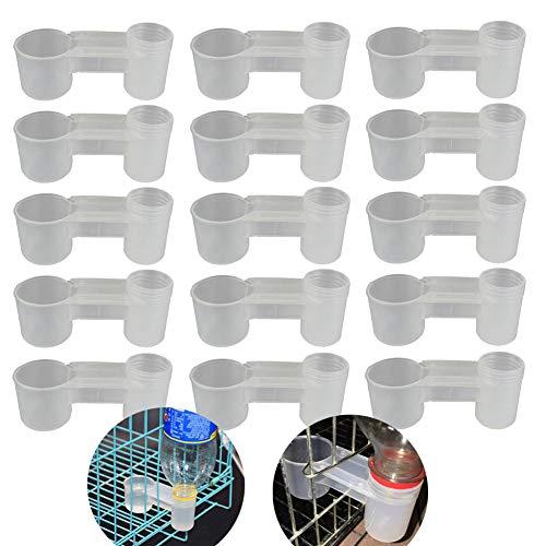 VinBee 15 Piezas Plástico Botella de agua Bebedero de pájaros Alimentador Taza Comedero de palomas de pollo Comedero Accesorios para alimentación de animales